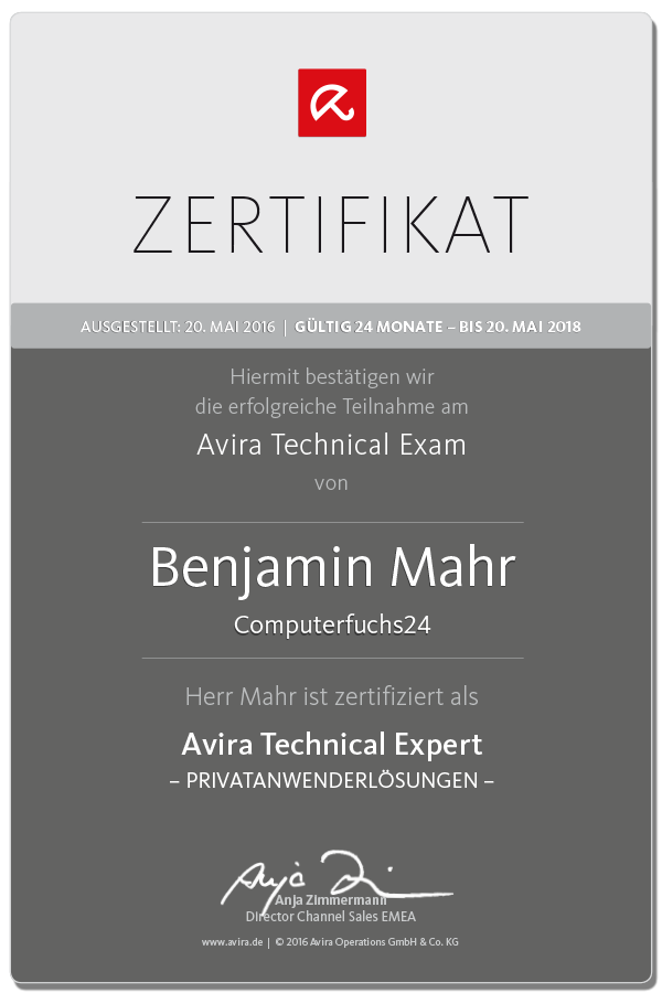 Anti-Virensoftware - Benjamion Mahr ist zertifizierter Avira Technical Expert und hilft Ihnen bei der Installation Ihrer Anti-Virussoftware